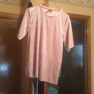 Pink velvet t shirt